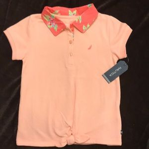 Girls Nautica s/s polo shirt. Size 5. Peach $20